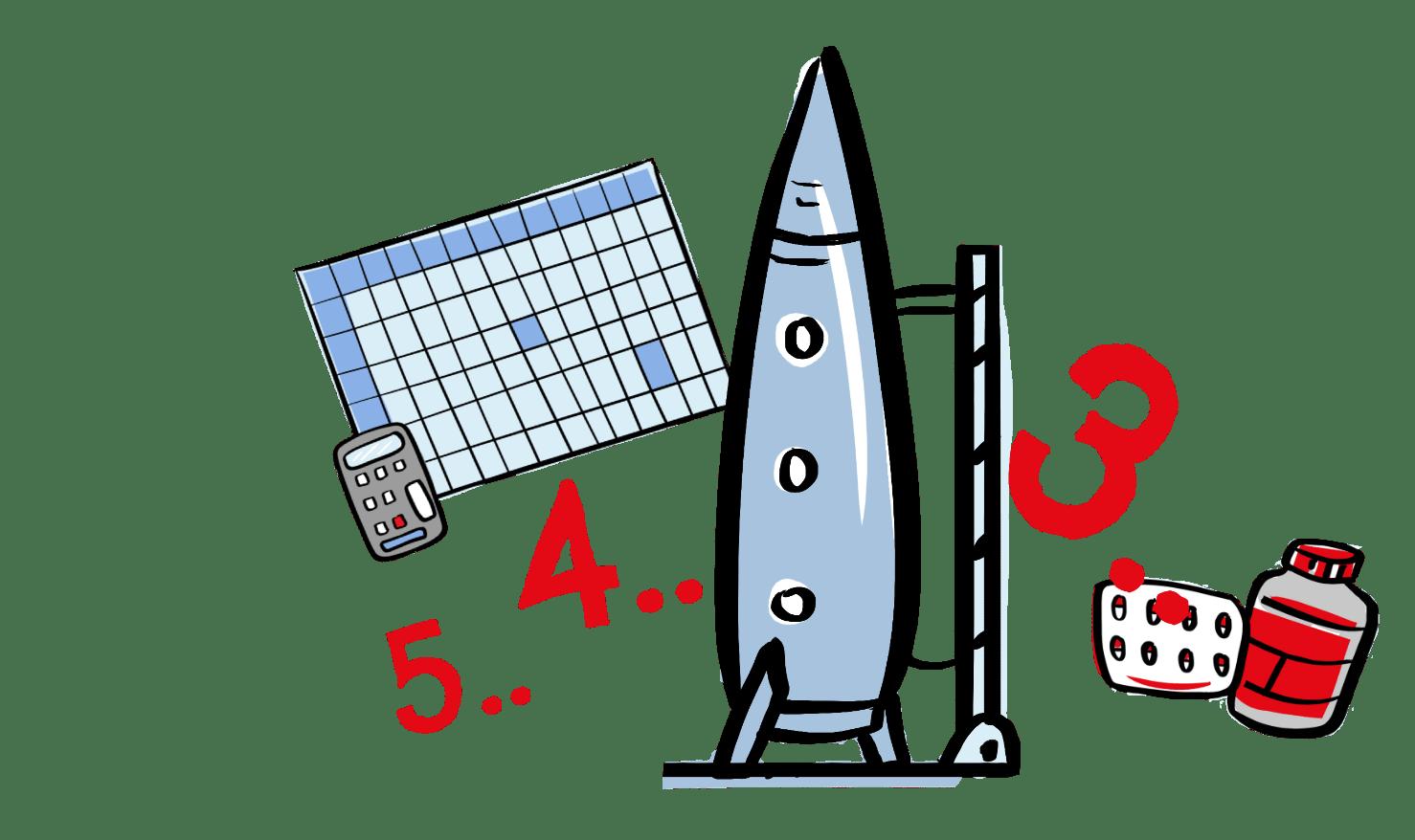 Rocket, pills and spreadsheet