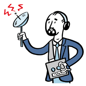 Man holding radio listening device