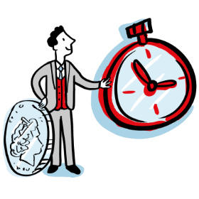 Character with clock and money